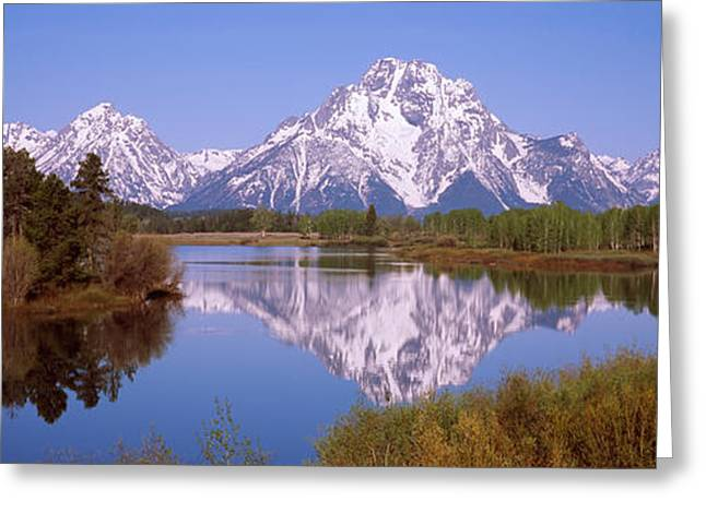 Reflection Of Mountains And Trees Greeting Card by Panoramic Images