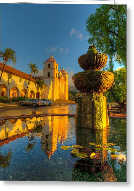 Lilly Pads Greeting Cards - Reflection of Santa Barbara Mission Greeting Card by Connie Cooper-Edwards