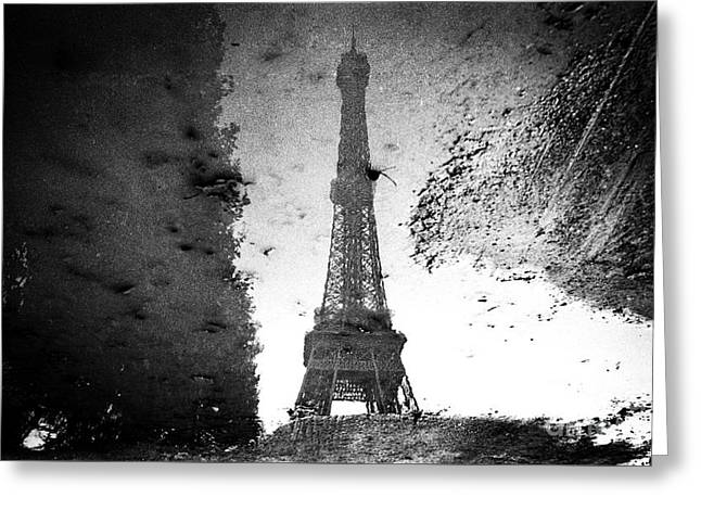 White Pyrography Greeting Cards - Reflection Of the Eiffel Tower.  Greeting Card by Cyril Jayant