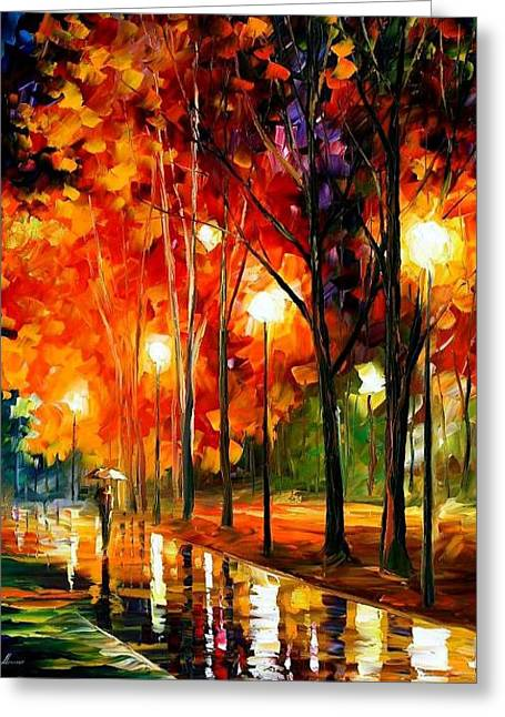 Reflection Of The Night  Greeting Card by Leonid Afremov