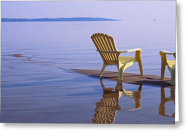 Sand Bar Greeting Cards - Reflection Of Two Adirondack Chairs Greeting Card by Panoramic Images