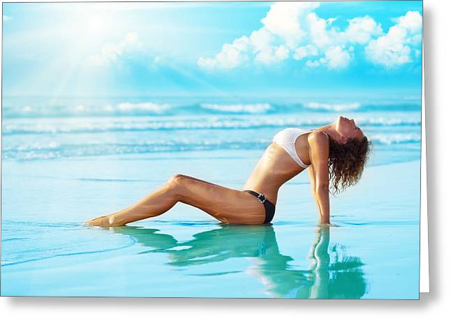 Recently Sold -  - Ocean. Reflection Greeting Cards - Reflection of young woman Greeting Card by MotHaiBaPhoto Prints