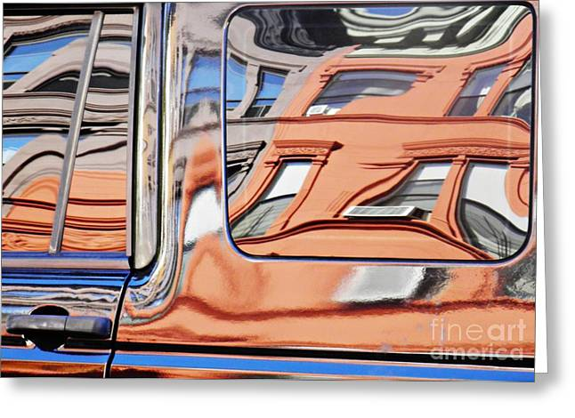 Sarah Loft Greeting Cards - Reflection on a Parked Car 9 Greeting Card by Sarah Loft