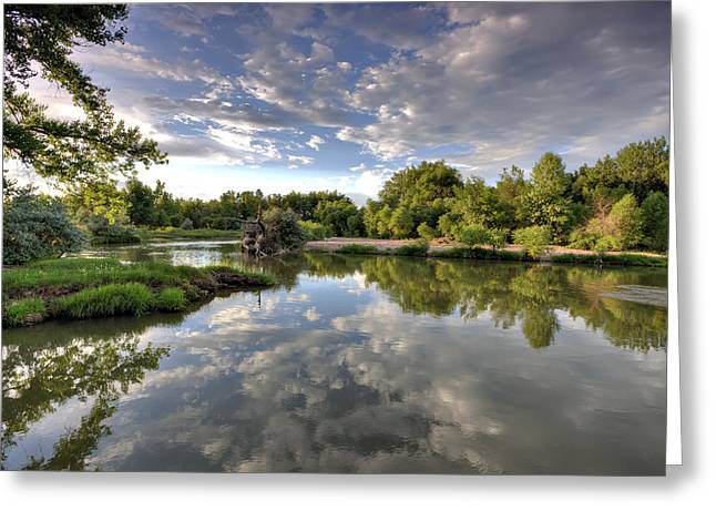 Fort Collins Photographs Greeting Cards - Reflection on the Poudre River Greeting Card by Shane Linke