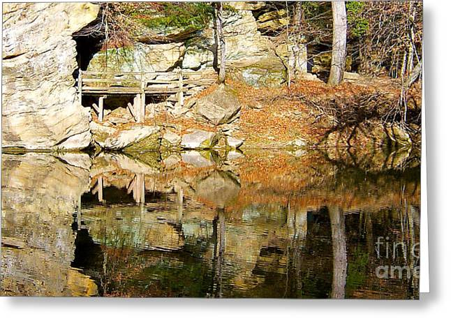 Turkey Run State Park Greeting Cards - Reflection Pass Greeting Card by Pamela Clements
