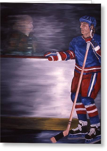 Hockey Paintings Greeting Cards - Reflection Greeting Card by Ken  Yackel