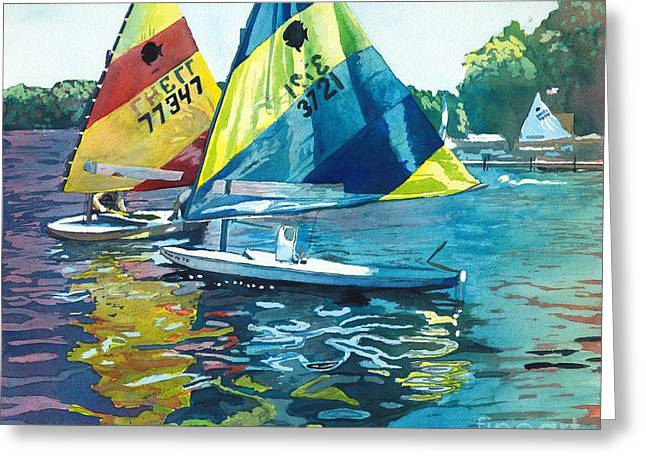 Reflections After The Race Greeting Card by LeAnne Sowa
