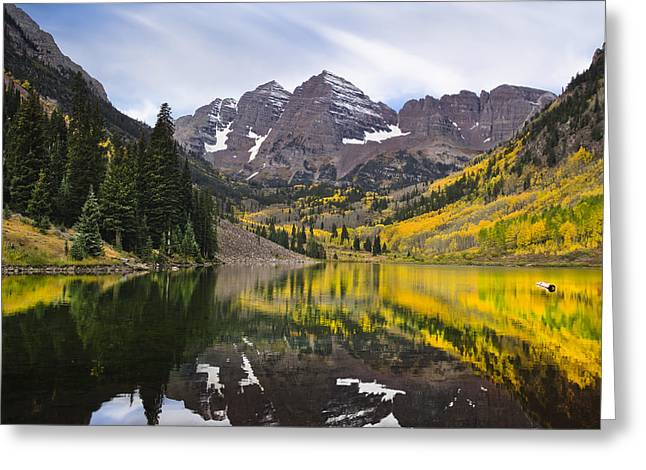 Autumn Landscape Photographs Greeting Cards - Reflections and Aspen Trees Greeting Card by Tim Reaves