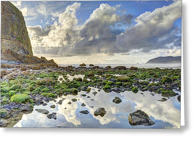 Beach Photos Greeting Cards - Reflections at Low Tide HDR Greeting Card by Marv Vandehey