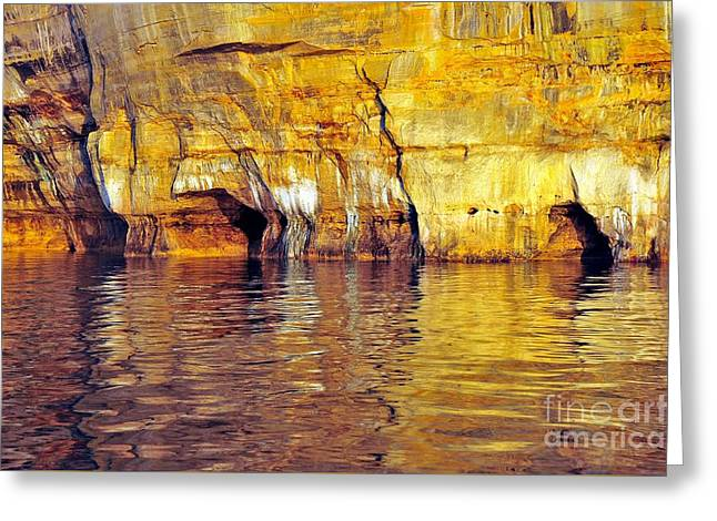 Lakeshore Greeting Cards - Reflections at Pictured Rocks National Lakeshore Greeting Card by Terri Gostola