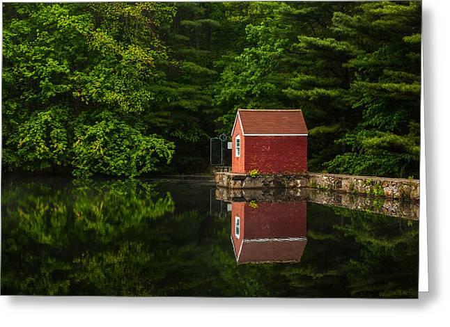 Shed Greeting Cards - Reflections At Stewart Woods Greeting Card by Karol  Livote