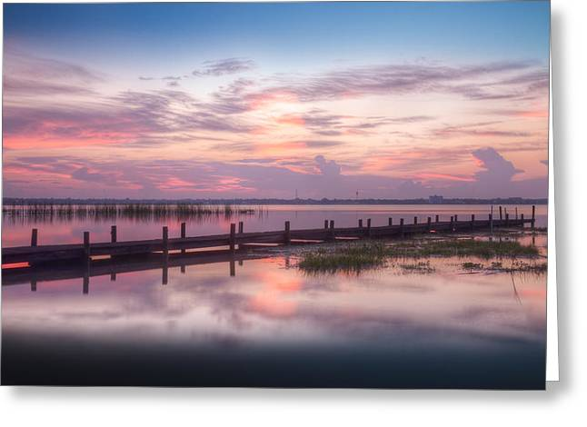 Reflections At The Dock Greeting Card by Debra and Dave Vanderlaan