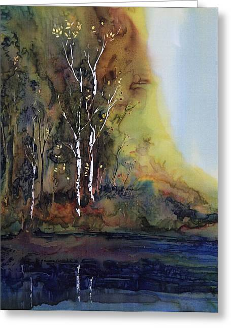 Trees Tapestries - Textiles Greeting Cards - Reflections Greeting Card by Carolyn Doe