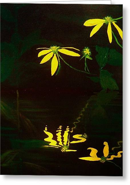 Water Lilly Greeting Cards - Reflections For A Drink Greeting Card by Eugene Budden