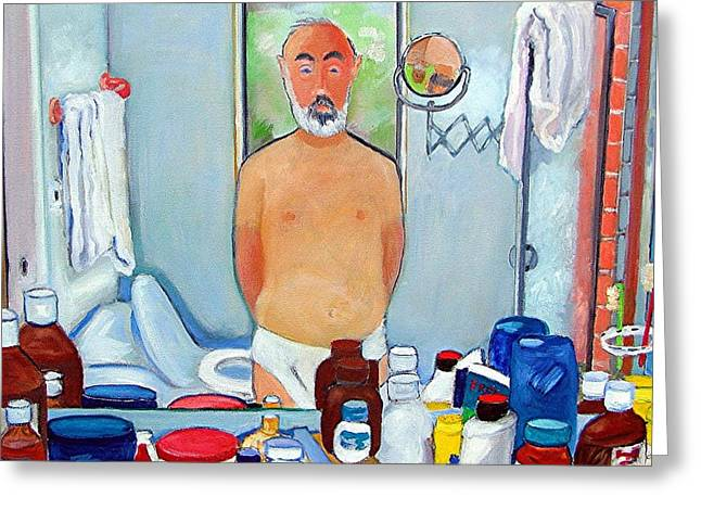 Self Portrait Paintings Greeting Cards - Reflections Greeting Card by Gary Coleman