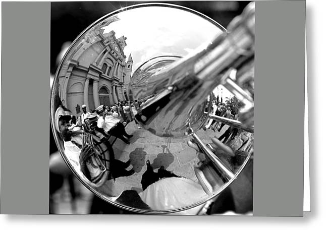 Reflections In A Trombone Greeting Card by Todd Fox