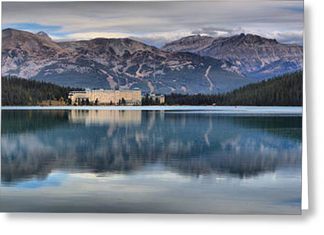Chateau Greeting Cards - Reflections In Lake Louise Greeting Card by Adam Jewell