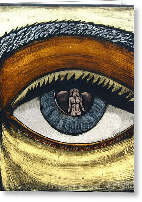 Reflection Glass Greeting Cards - Reflections In Ones Eye II Greeting Card by Valerie Lynn