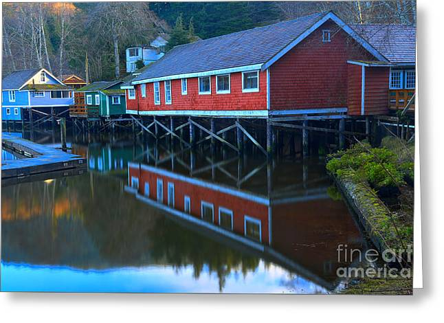 Reflections In Telegraph Cove Greeting Card by Adam Jewell