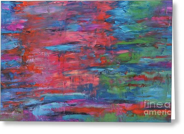 Pallet Knife Greeting Cards - Reflections in Time Greeting Card by Linda Mooney