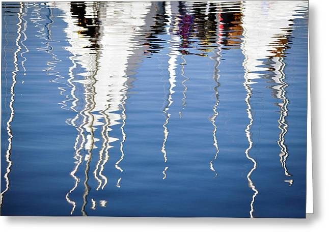 Blue Sailboats Greeting Cards - Reflections Greeting Card by Jenn  Downes