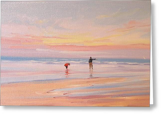 Nantasket Beach Greeting Cards - Reflections Greeting Card by Laura Lee Zanghetti