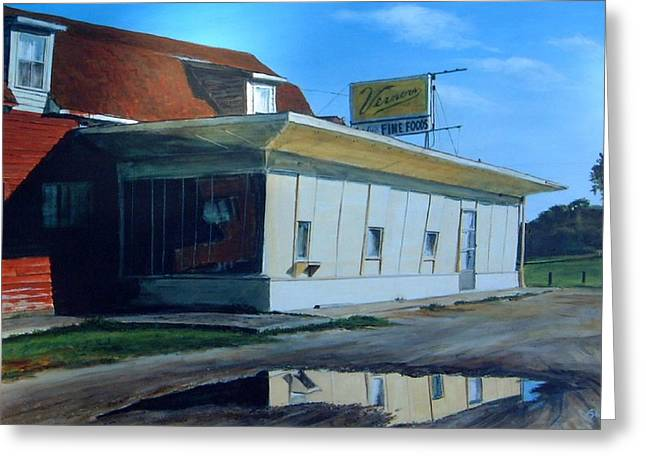Reflections Of A Diner Greeting Card by William  Brody
