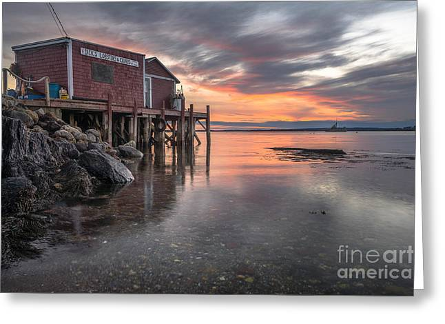 Reflections Of A Maine Fishing Shack Greeting Card by Benjamin Williamson