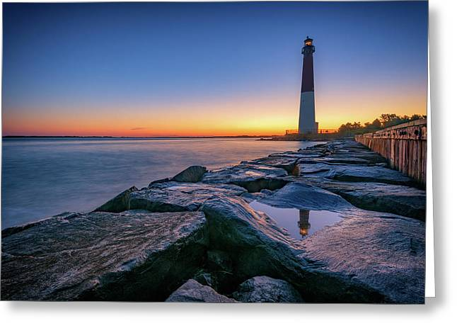Reflections Of Barnegat Light Greeting Card by Rick Berk
