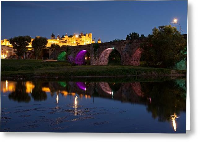 Languedoc Digital Greeting Cards - Reflections of Carcassonne Greeting Card by Stephen Taylor
