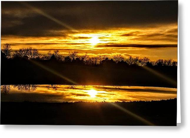 Reflections Of Eternal Horizons Greeting Card by Erin Brady