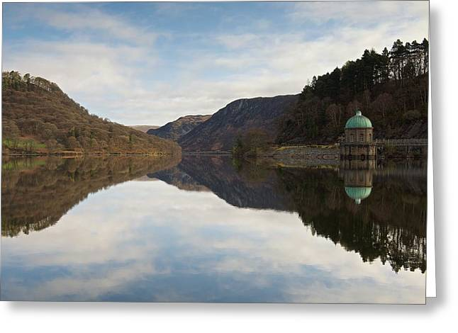 Welsh Reservoirs Greeting Cards - Reflections of Foel Tower Greeting Card by Stephen Taylor