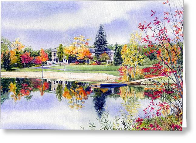 Autumn Landscape Paintings Greeting Cards - Reflections of Home Greeting Card by Hanne Lore Koehler