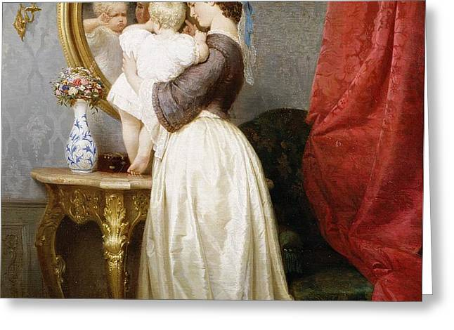 Reflections of Maternal Love Greeting Card by Robert Julius Beyschlag