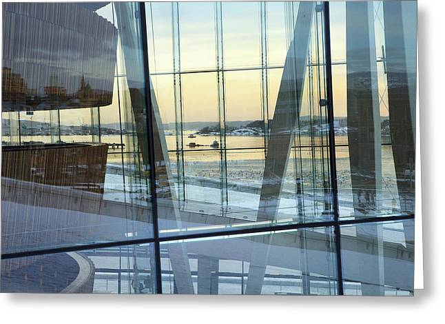 Reflections Of Oslo Greeting Card by David Chandler