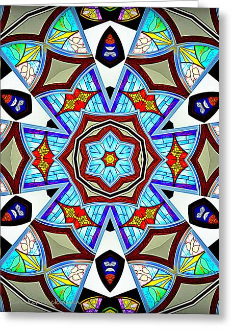 Rose Window Greeting Cards - Reflections of Peace Greeting Card by Cricket Hackmann