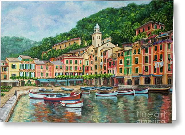 Boats On Water Greeting Cards - Reflections Of Portofino Greeting Card by Charlotte Blanchard