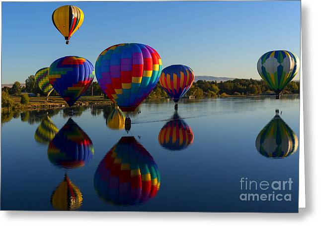 Reflections Of Seven Greeting Card by Mike Dawson
