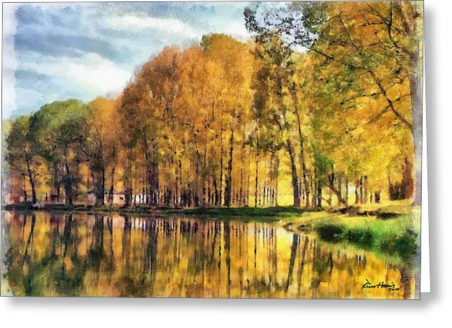 Blue Green Water Pastels Greeting Cards - Reflections of Swan Lake Greeting Card by Russ Harris