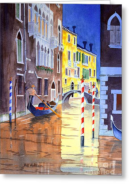 Reflections Of Venice Italy Greeting Card by Bill Holkham