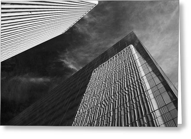 Tulsa Oklahoma. Architecture Greeting Cards - Reflections on Black Greeting Card by William Oswald