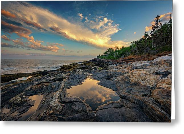 Reflections On Muscongus Bay Greeting Card by Rick Berk