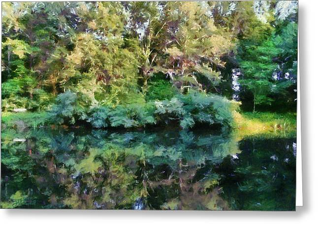 Oak Creek Greeting Cards - Reflections On Oak Creek Pond Greeting Card by Theresa Campbell