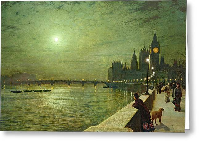 Moonlit Greeting Cards - Reflections on the Thames Greeting Card by John Atkinson Grimshaw