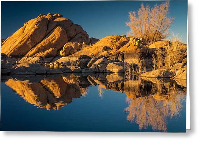 Watson Lake Reflections Greeting Cards - Reflections-Watson Lake 2 Greeting Card by Karen Martin