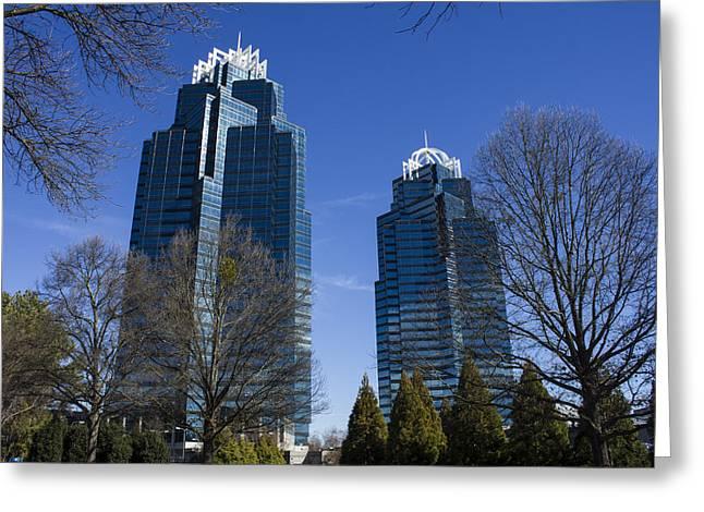 Reflective Blues Concourse Buildings Atlanta Greeting Card by Reid Callaway