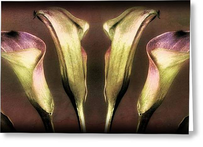 Interior Still Life Mixed Media Greeting Cards - Reflective Lilies Greeting Card by Clare Bevan