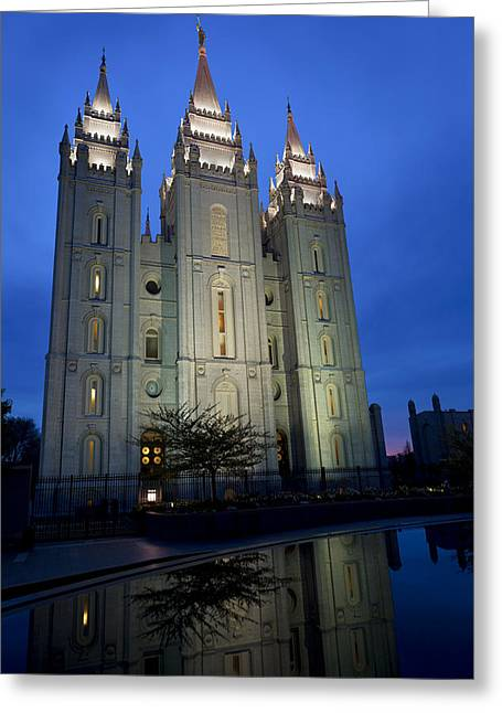 Reflective Greeting Cards - Reflective Temple Greeting Card by Chad Dutson