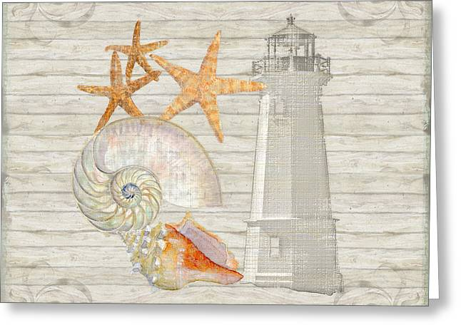 Chic Mixed Media Greeting Cards - Refreshing Shores - Lighthouse Starfish Nautilus n Conch over driftwood background Greeting Card by Audrey Jeanne Roberts