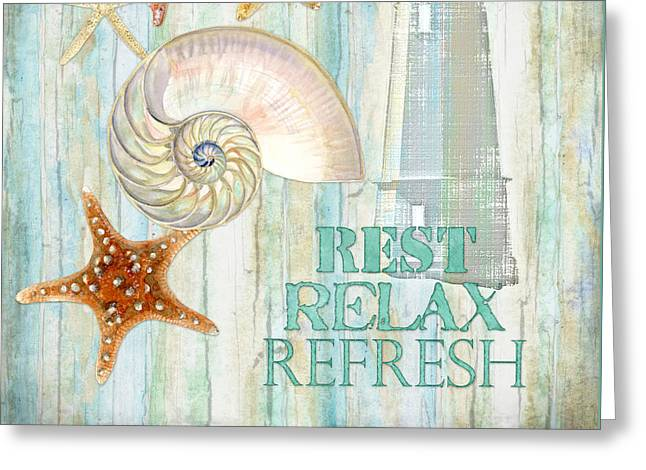 Beach House Paintings Greeting Cards - Refreshing Shores - Rest Relax Refresh Greeting Card by Audrey Jeanne Roberts